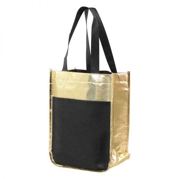 Customizable Metallic Mini Tote Bag - Gold - Front slip pocket - Multi-functional sleeves for holding wine bottles