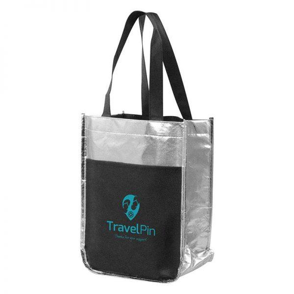 Customizable Metallic Mini Tote Bag - Silver - Front slip pocket - Multi-functional sleeves for holding wine bottles