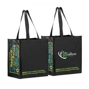 Custom grocery bags made from recycle content