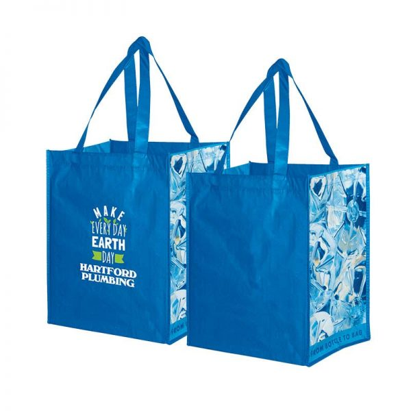 Custom grocery bags made from recycle content with an inspiring environmental art theme of used water bottles.