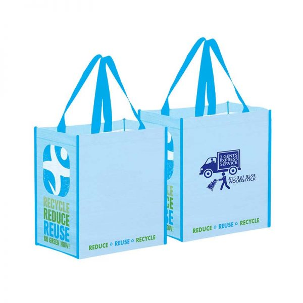 Recycled grocery bags with illustrative light blue recycling artwork