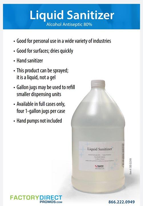 Liquid Sanitizer 80% alcohol wholesale pricing