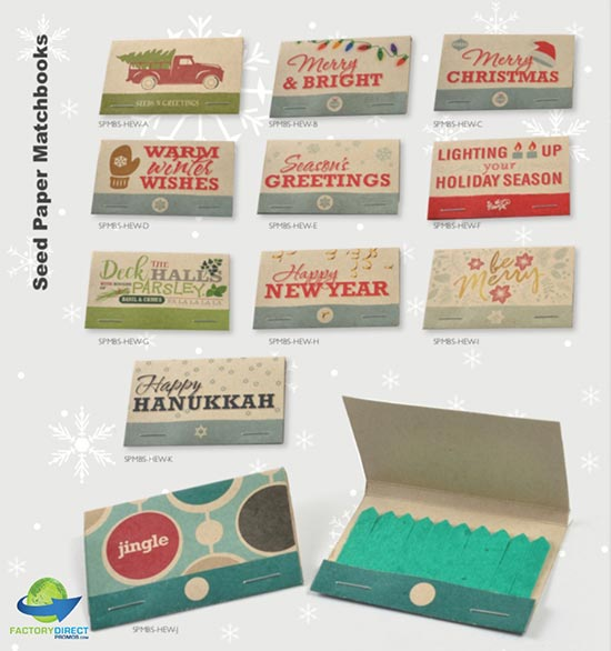 Holiday Seed Paper Matchbooks holiday seed paper gifts